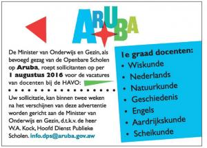 advertentie ministerie van onderwijs, Aruba